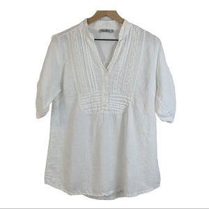 ELENA BALDI white linen elbow sleeve blouse